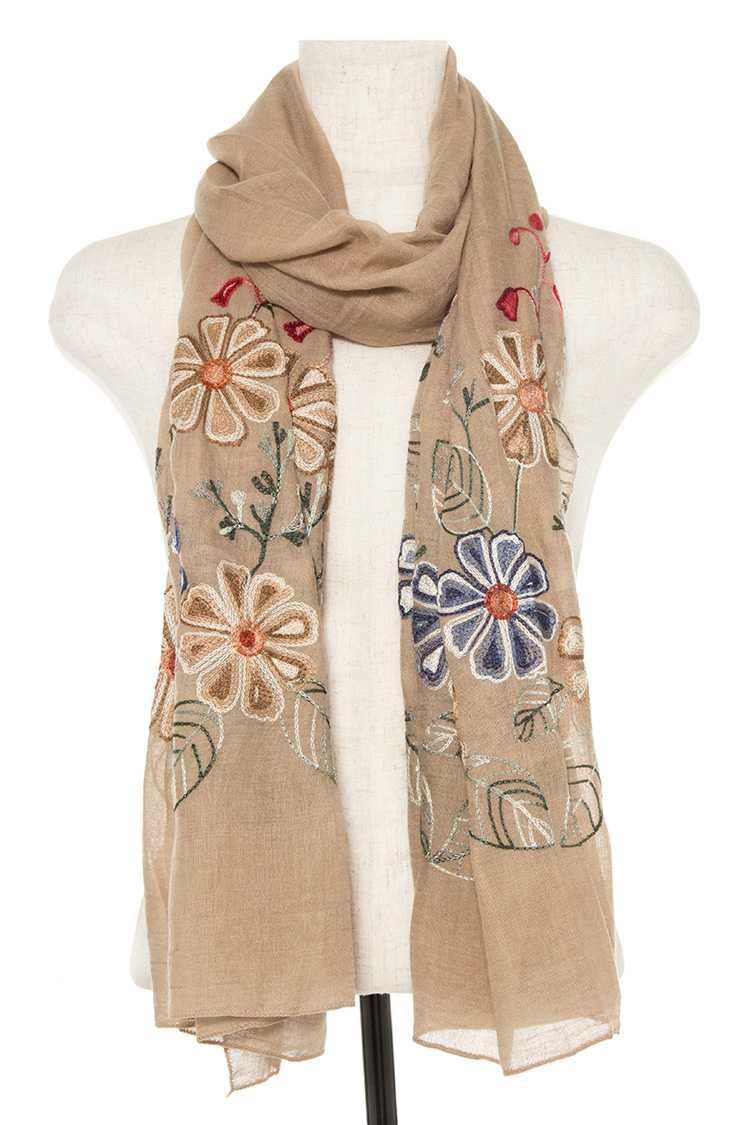 Oblong Embroidered Flower Pattern Scarf/Shawl