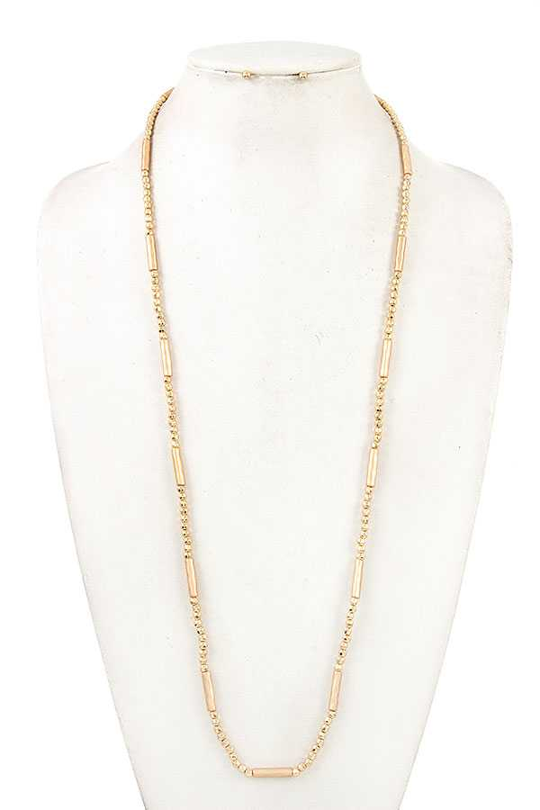 ELONGATED HAMMERED BAR BEAD NECKLACE SET