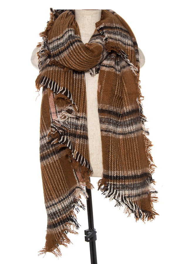 HEATHERED PLAID PATTERN FRINGE END SCARF