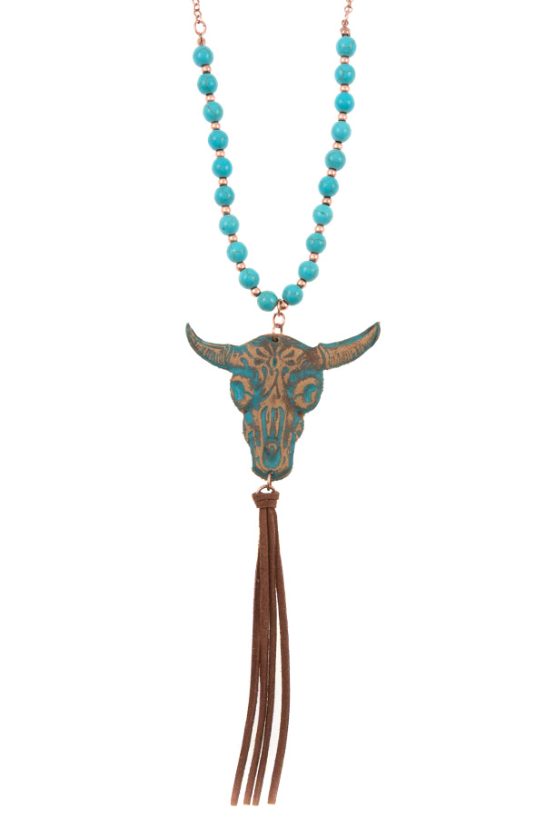 GENUINE LEATHER BULL PENDANT BEADED NECKLACE SET