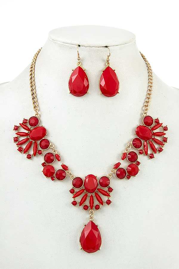 FACETED SEMI ORNATE NECKLACE SET