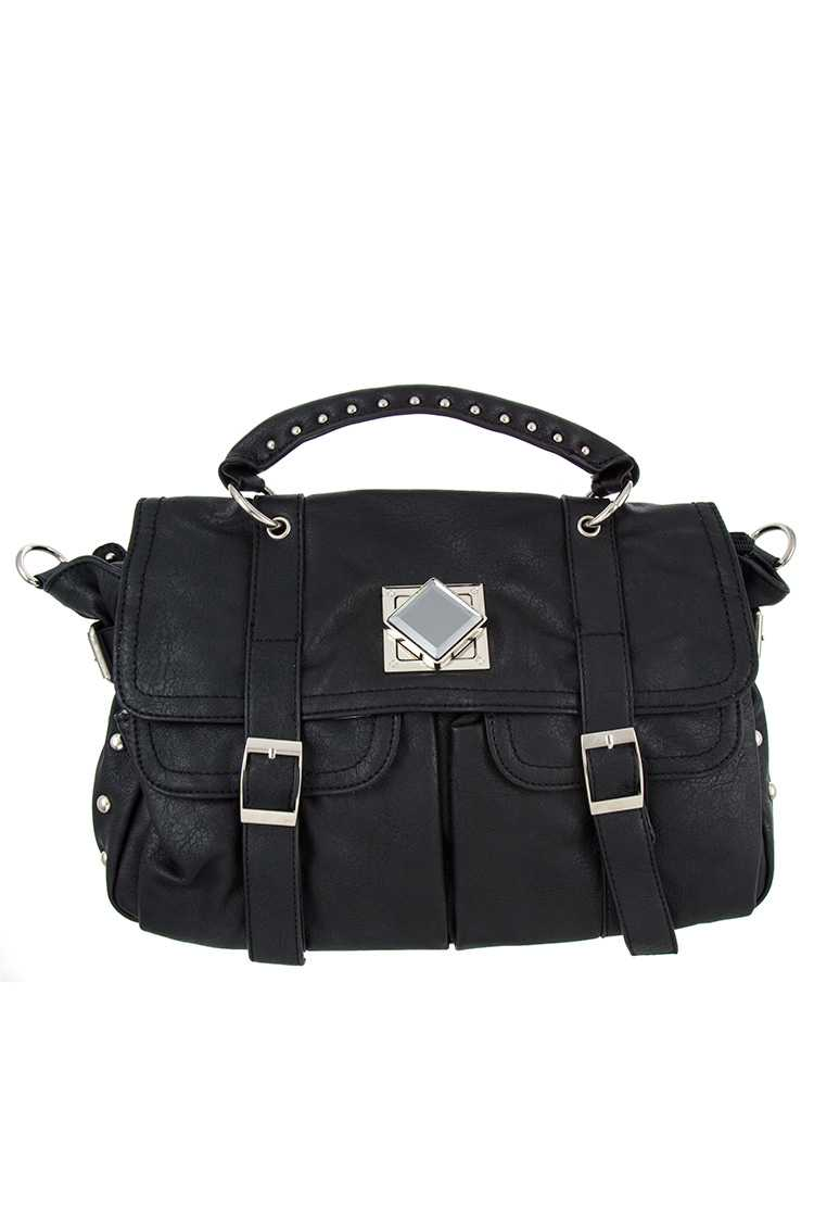 Black Faux Leather Top Handle Messenger Bag