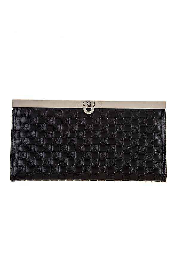 FAUX LEATHER WOVEN PATTERN CLUTCH BAG