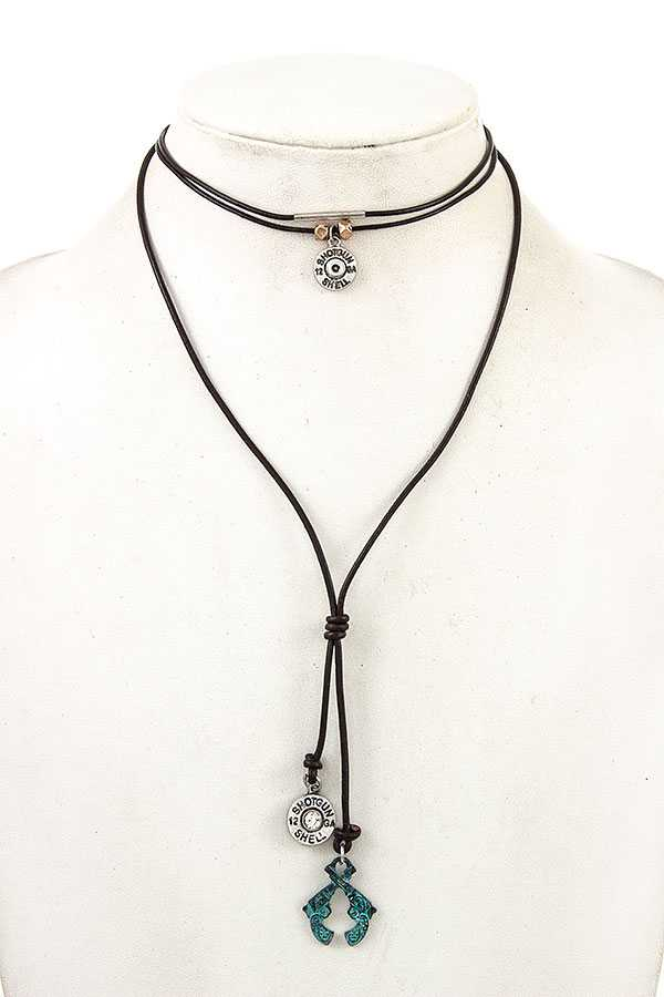BULLET ETCHED PEDNANT CORD NECKLACE