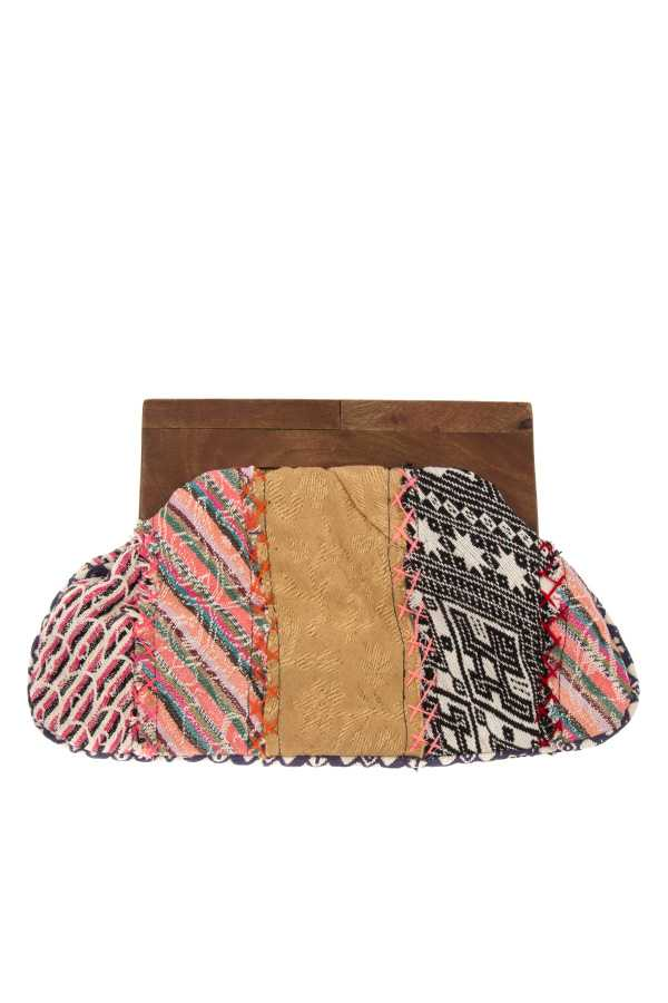 MIX PATTERN WOOD TOP CLUTCH BAG