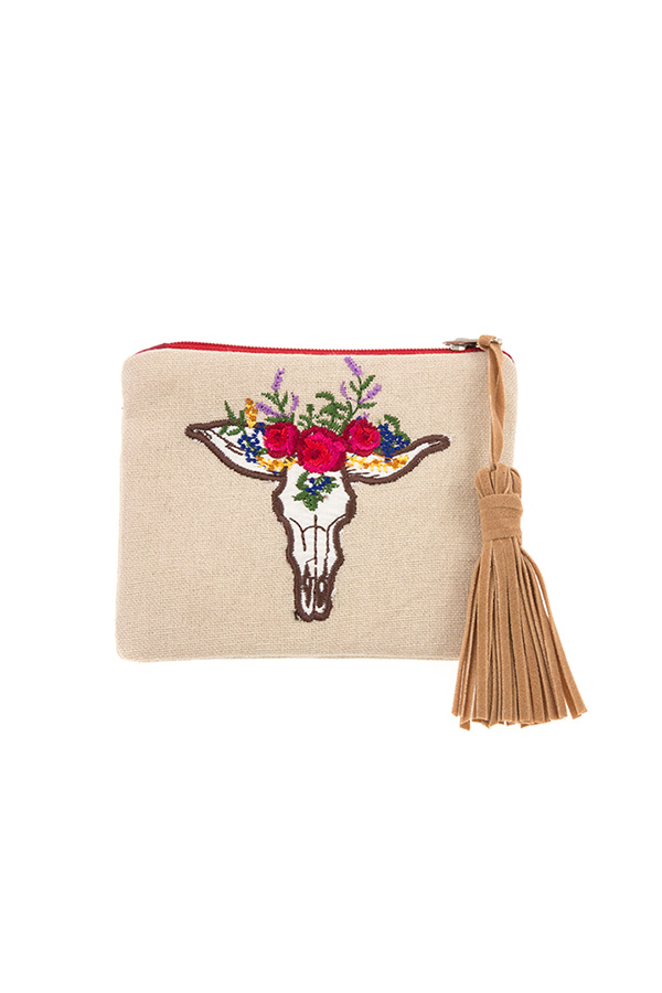 ROSE ACCENT BULL MINI COIN PURSE WITH TASSEL
