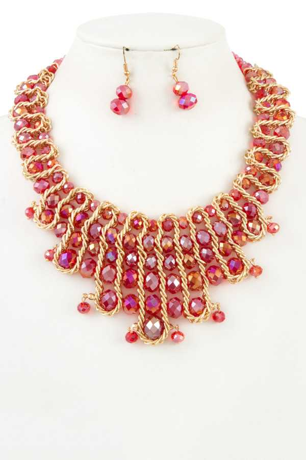 Woven Glass Bead Statement Bib Necklace Set