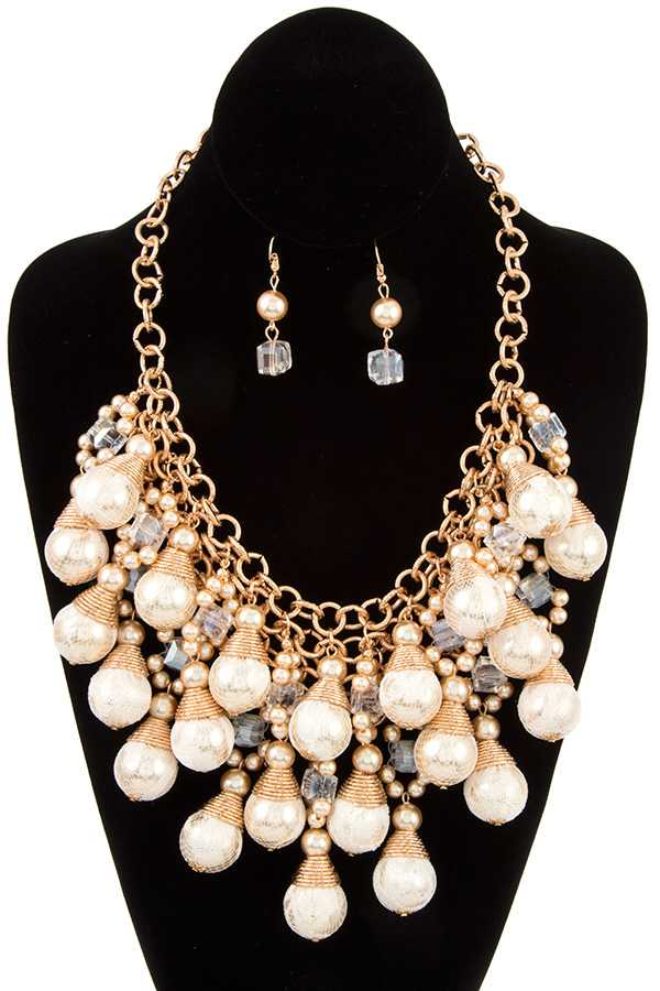 MESH CLUSTER TIERED BALL BIB NECKLACE SET