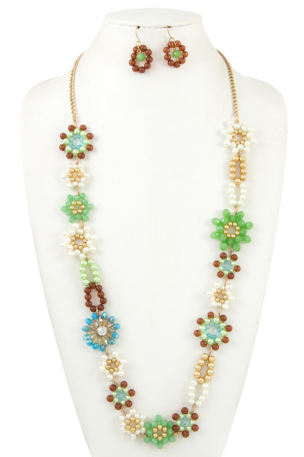 Crystal Flower Bead Long Necklace Set