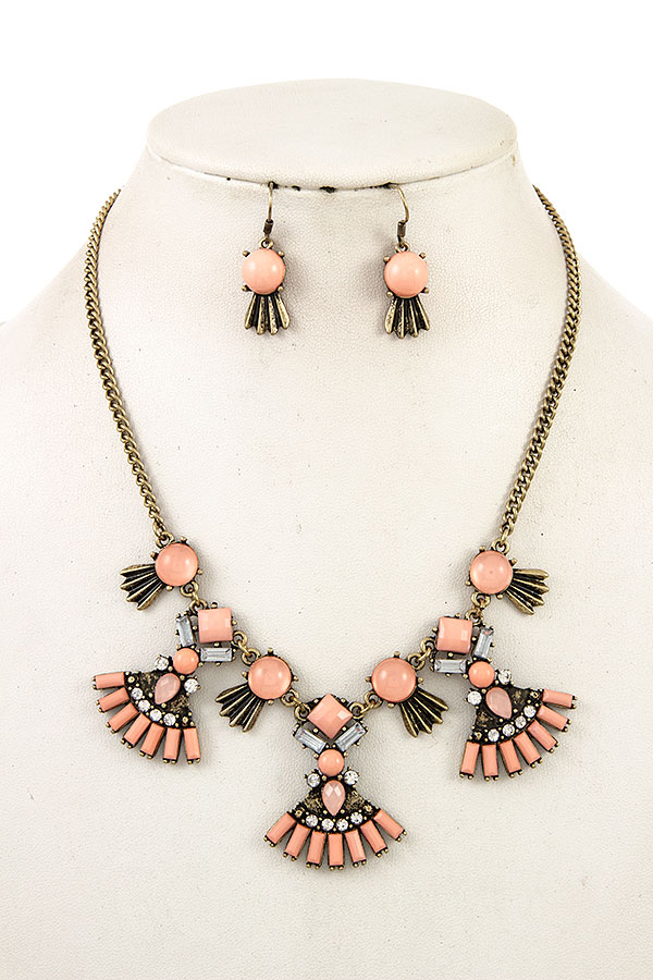 Faux Gem Pendant Bib Accent Necklace Set