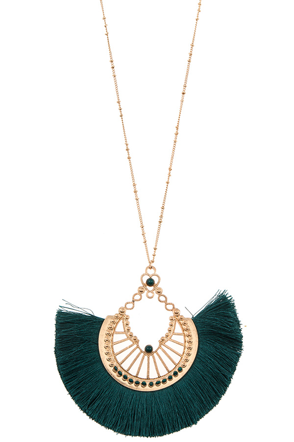 ELONGATED METAL CUT OUT TASSEL FAN NECKLACE