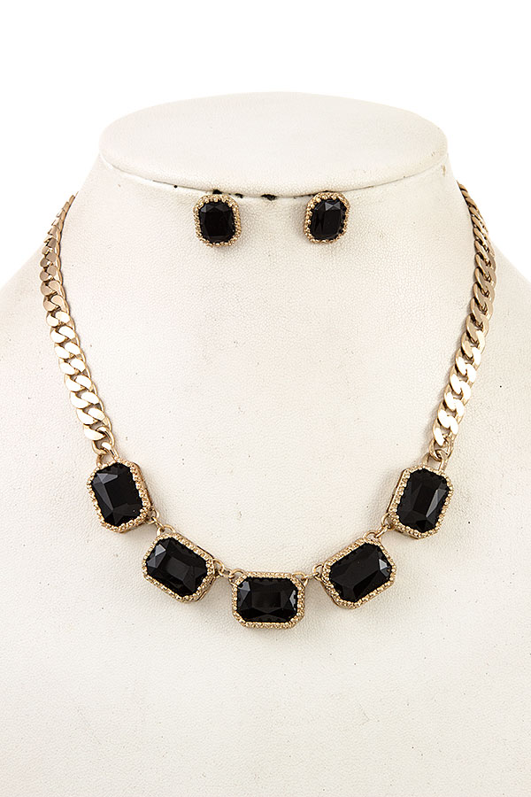 FACETED GEM FLAT CHAIN NECKLACE SET