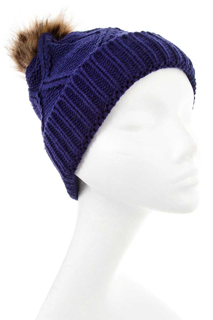Diamond Pattern Pom Pom Knit Beanie