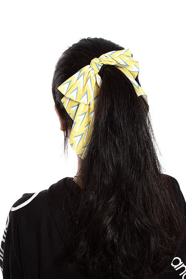 TRIANGLE TIP PATTERN BOW HAIR TIE