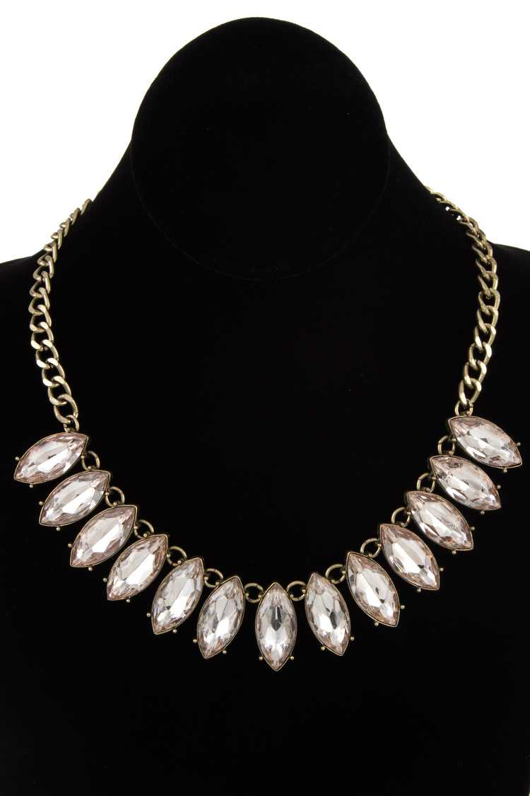 Faceted Marquise Ge Link Chain Necklace