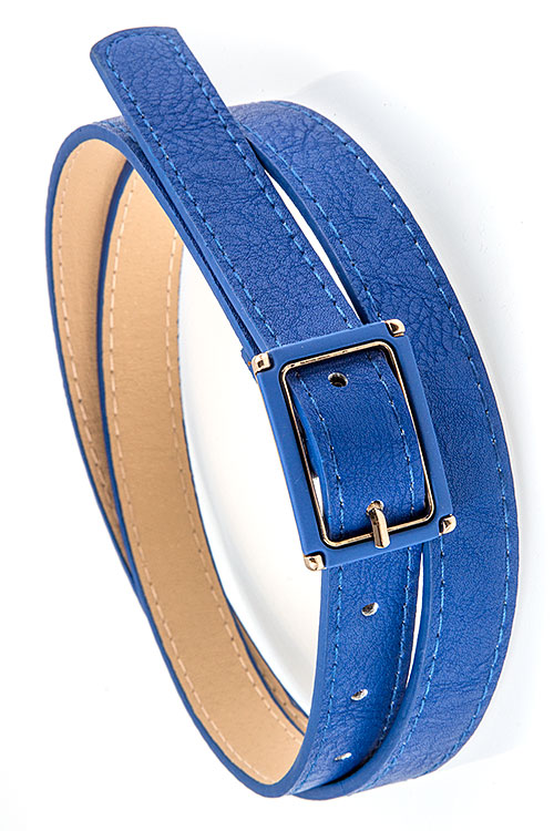 SYNTHETIC LEATHER COLOR ACCENT BUCKLE BELT
