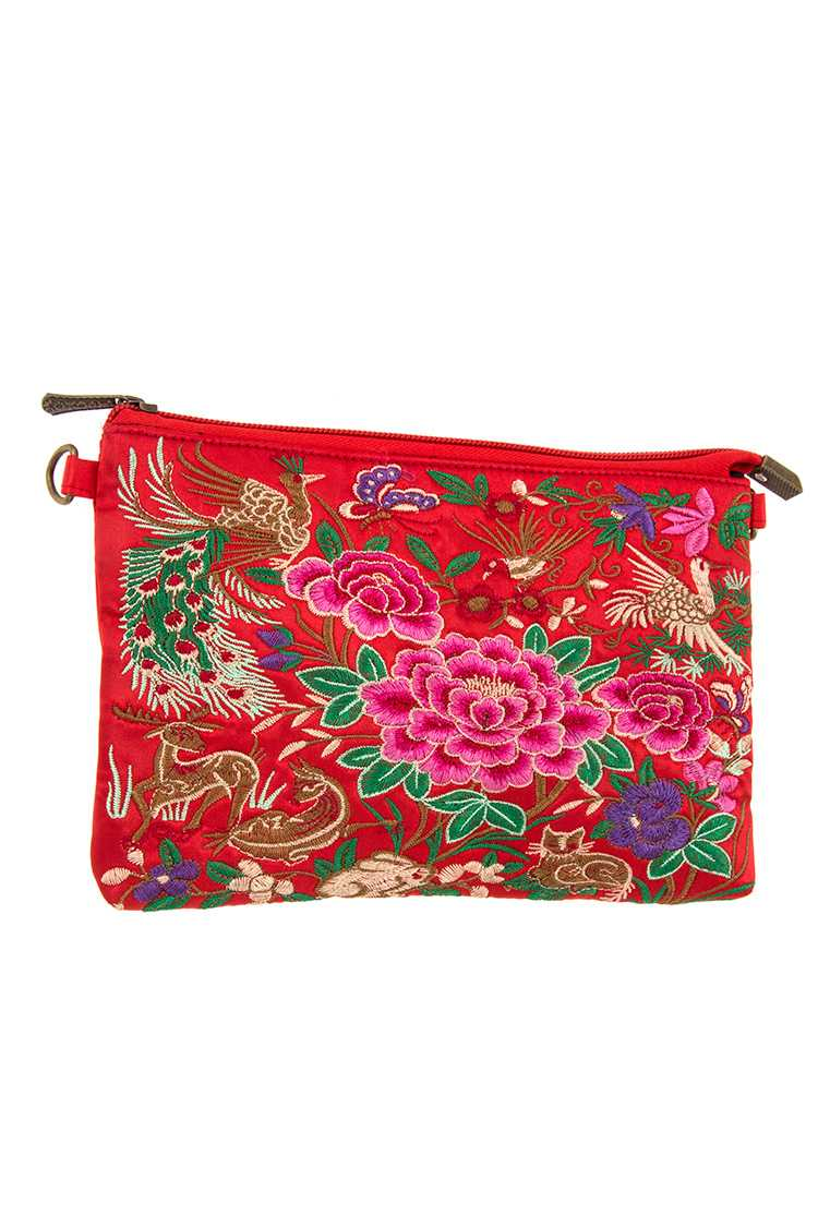Ethnic Embroidered Flower and Mix Animal Pattern Clutch Bag