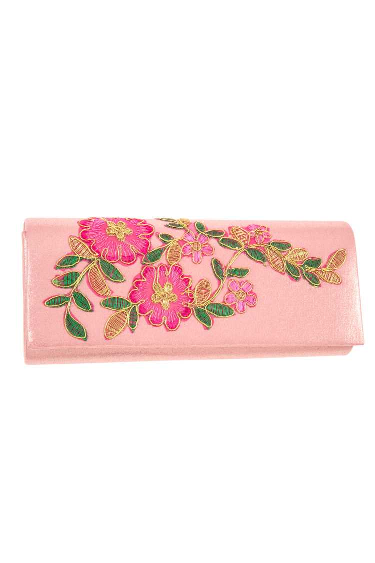Embroidered Floral Detail Clutch Bag