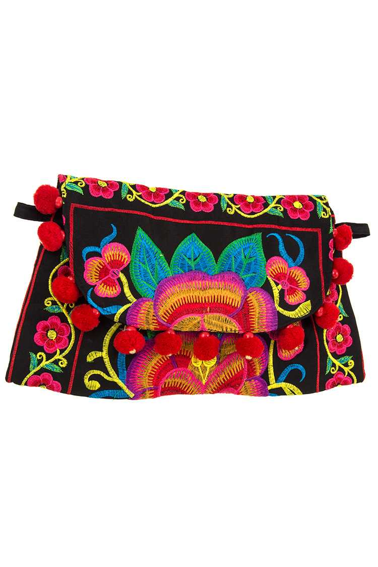 Embroidered Flower Pom Pom Accent Fashion Bag