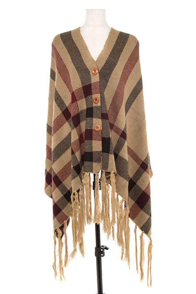 Plaid Pattern Tassel End Button Accent Wrap