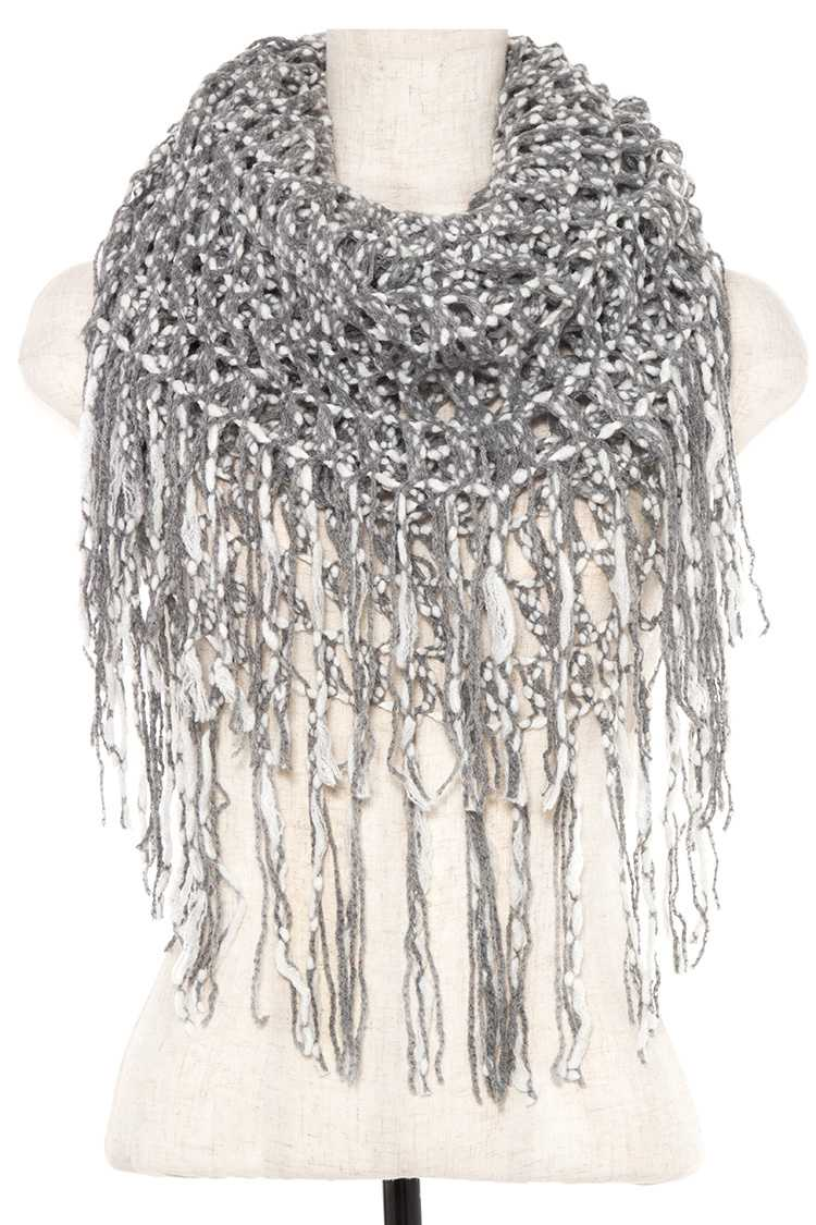 Two Tone Open Knit Infinity Tube Scarf with Fringe