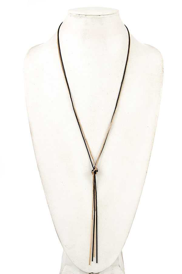 BOX CHAIN BAR PENDANT KNOT ACCENT NECKLACE
