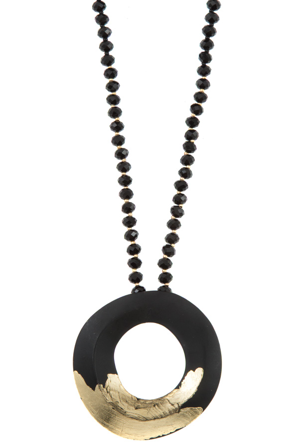 BLACK GLASS BEAD RING GOLD  ACCENT PENDANT NECKLACE SET