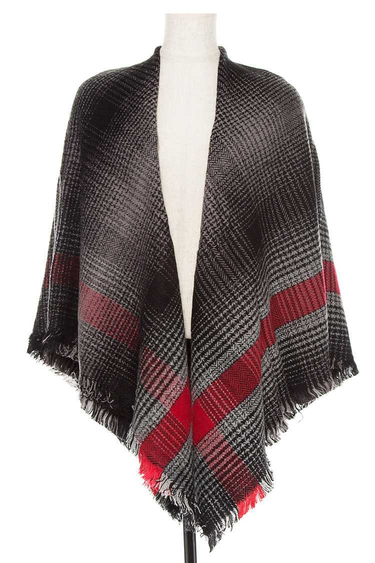 Color Block Square Pattern Blanket Scarf With Fringe