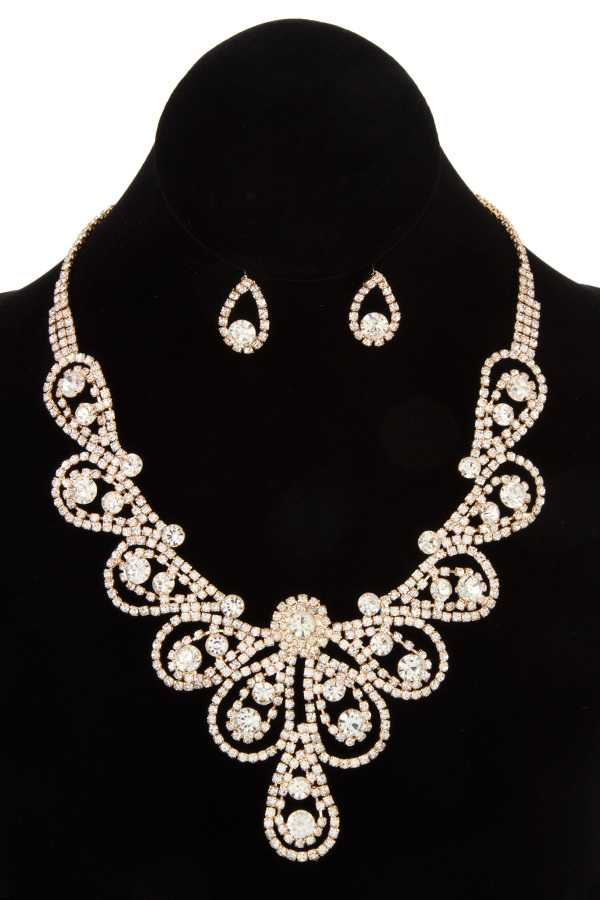 RHINESTONE SWIRL DETAILED NECKLACE SET