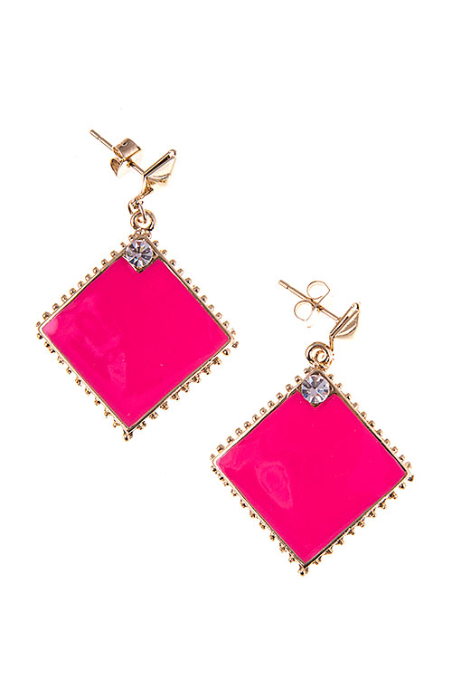 DIAMOND SHAPE FRAME DANGLE EARRING