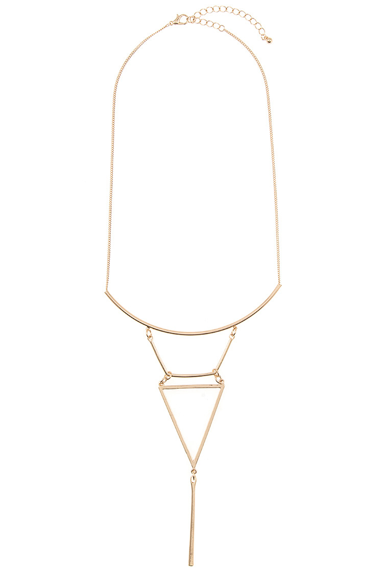 Curved Bar Triangle Cut Out Pendant Tier Necklace