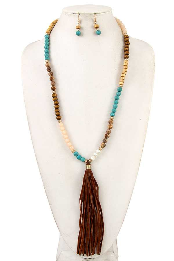 ELONGATED BEADED FAUX SUEDE TASSEL NECKLACE SET