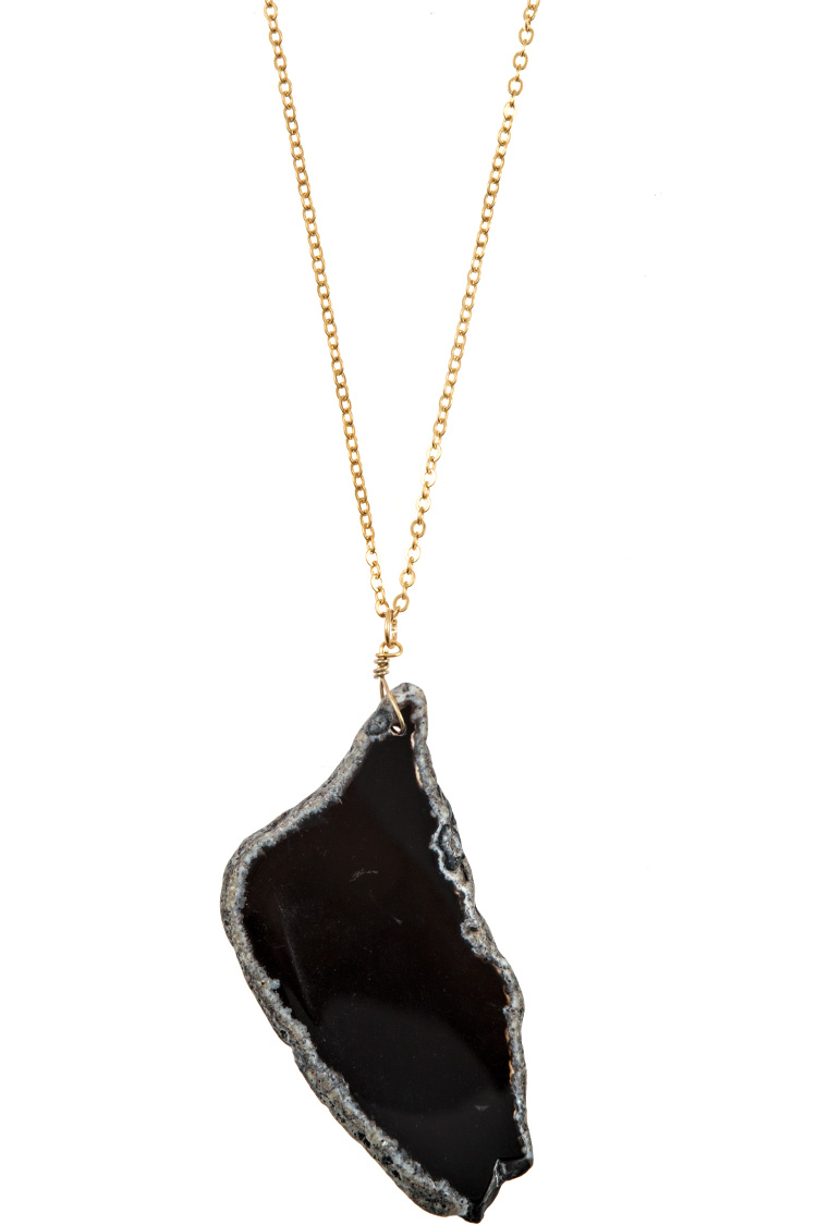 Elongated Agate Stone Pedant Necklace
