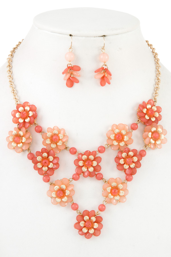 ACRYLIC FLROAL STONE BIB NECKLACE SET