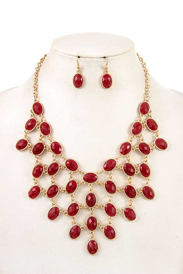 FACETED OVAL NET BIB NECKLACE SET