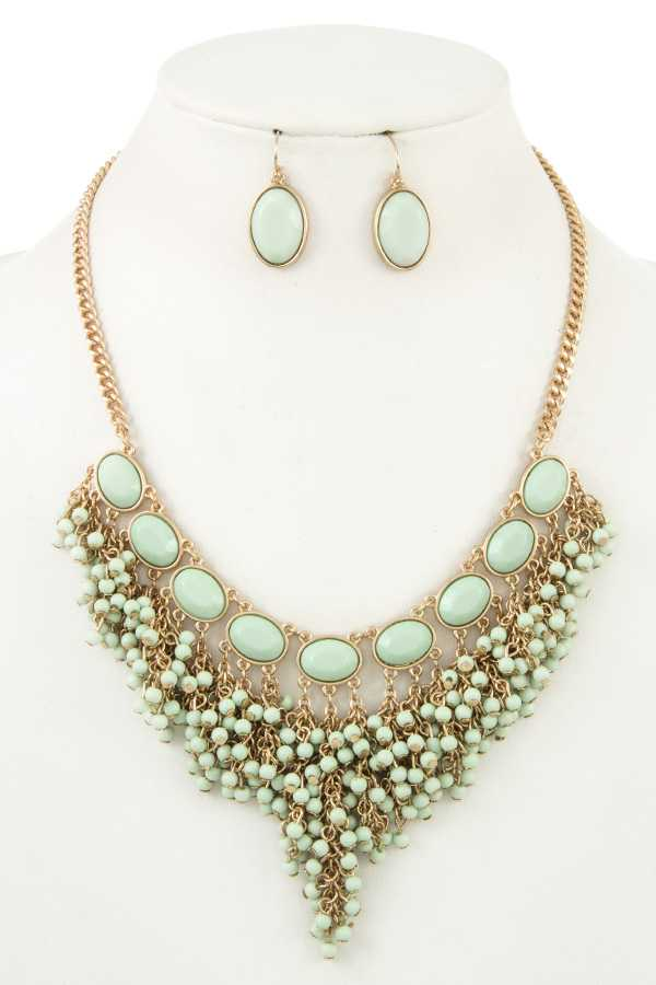 CLUSTER BEAD FRINGE BIB NECKLACE SET