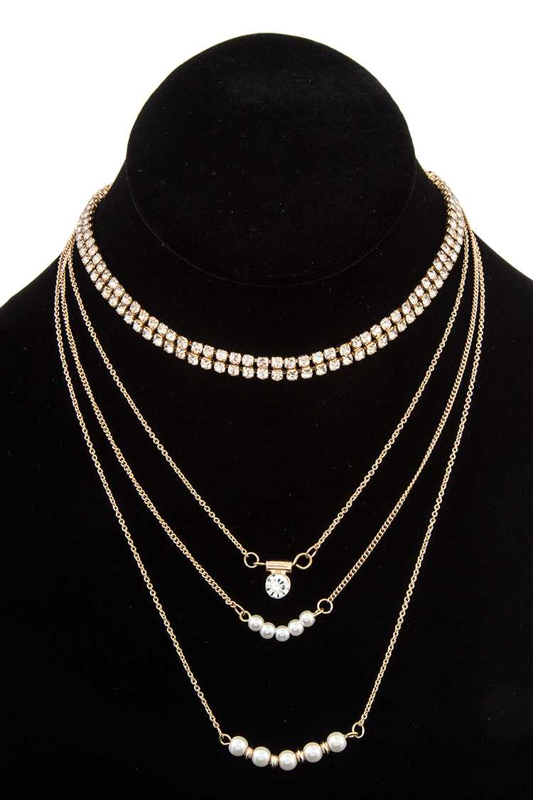 Multi Row Rhinestone and Pearl Accent Choker Necklace