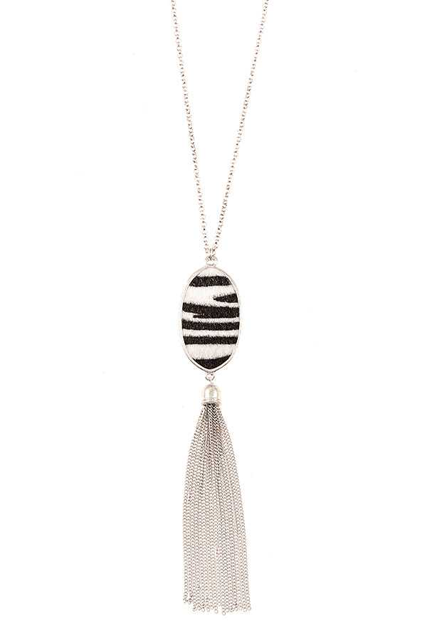 ZEBRA OVAL FRAMED CHAIN TASSEL PENDANT NECKLACE SET