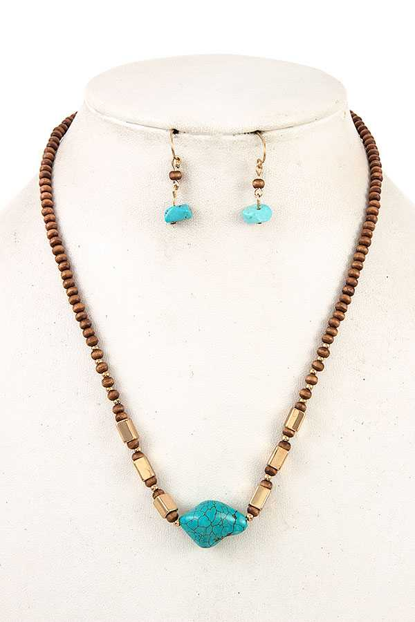 GEM BEADED PENDANT NECKLACE SET