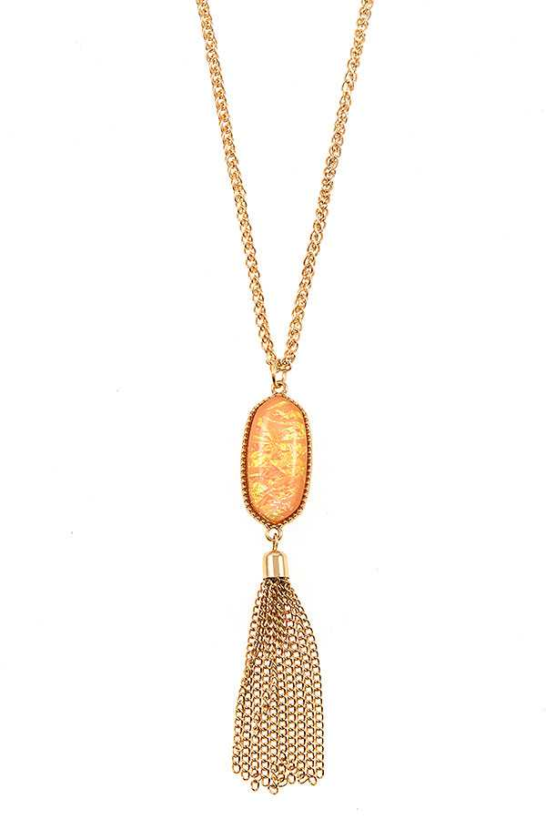 OVAL FRAMED STONE CHAINT TASSEL NECKLACE SET