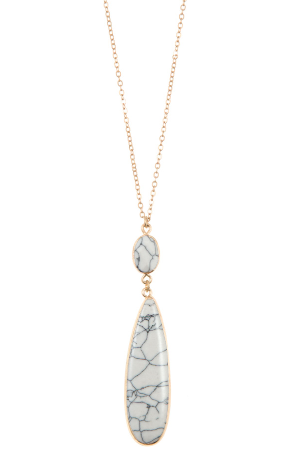 ELONGATED DOUBLE LINK STONE PENDANT NECKLACE
