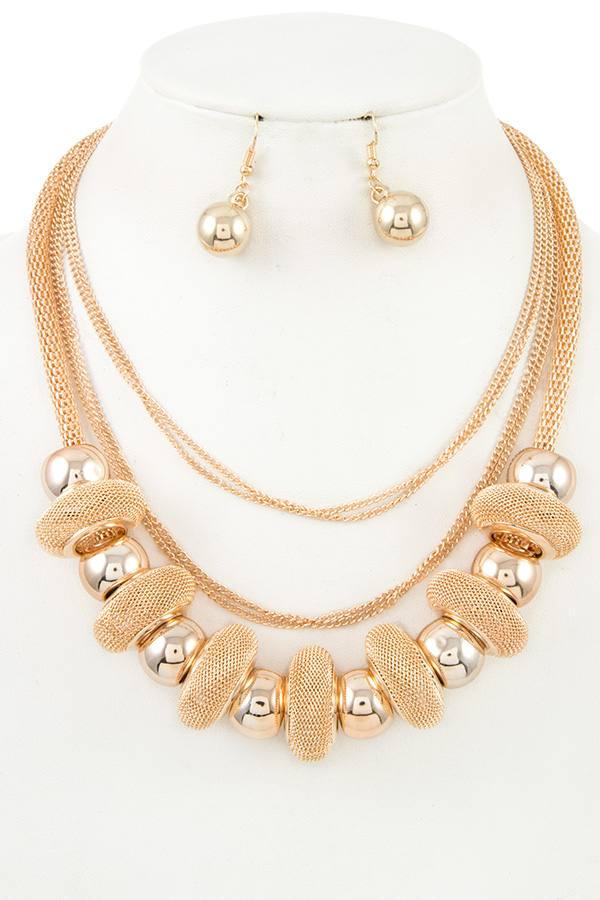 MULTI CHAIN RING BEAD BIB NECKLACE SET