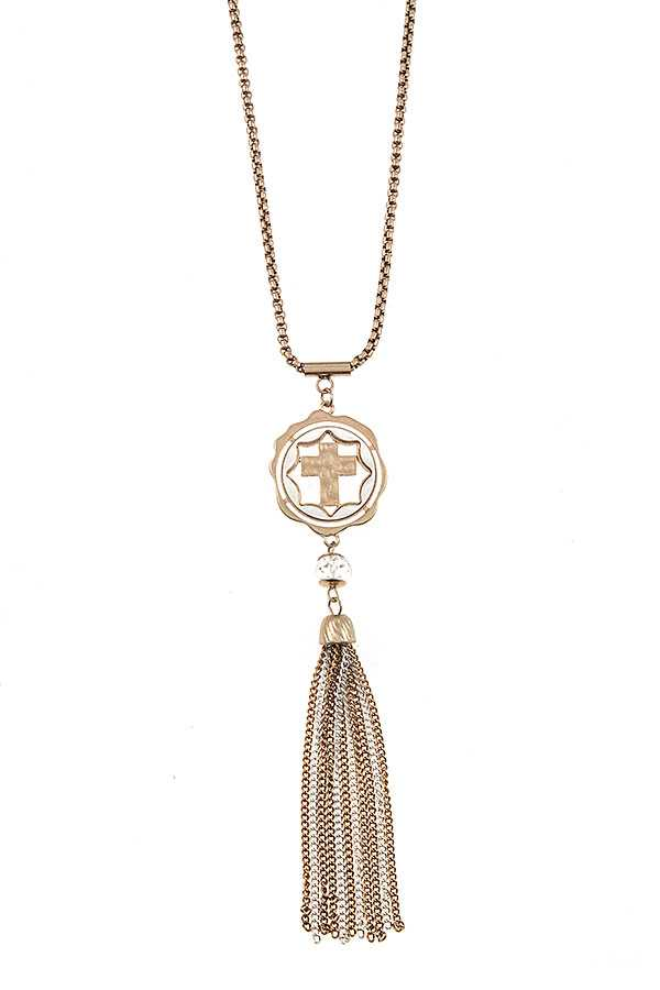 ELONGATED CROSS PENDANT CHAIN TASSEL LINK NECKLACE SET