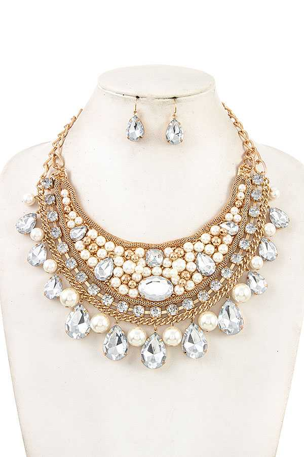 PEARL AND GEM BIB ORNATE NECKLACE SET