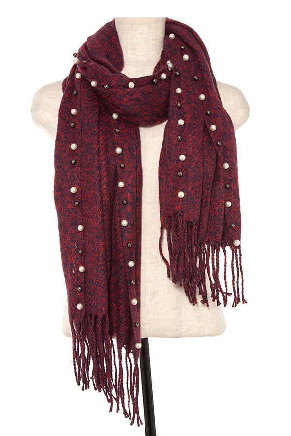 PEARL AND METAL BEAD ACCENT BORDER FRINGE END OBLONG SCARF