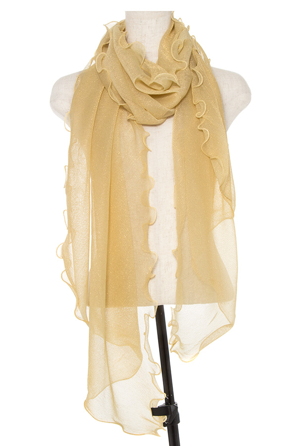 GLITTERED RUFFLED TRIM OBLONG SCARF