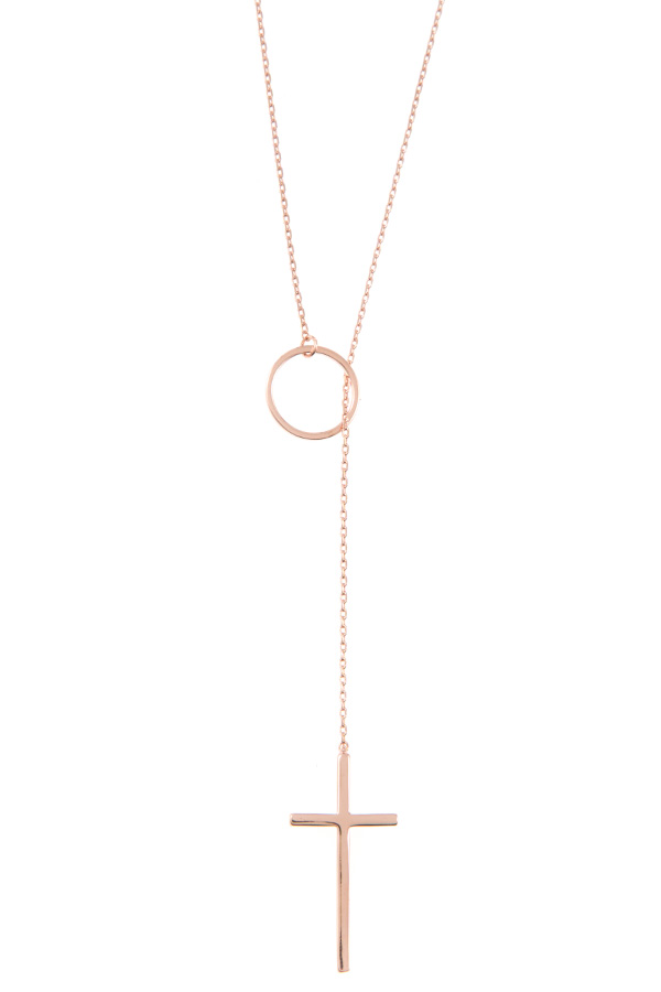 RING CROSS LARIAT NECKLACE