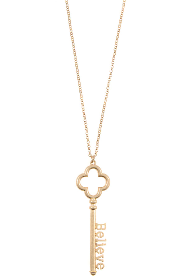 BELIEVE KEY PENDANT LONG NECKLACE