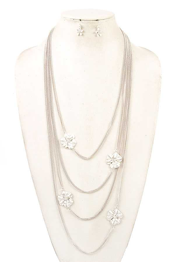 MULTI LAYERED FLORAL ACCENT NECKLACE SET