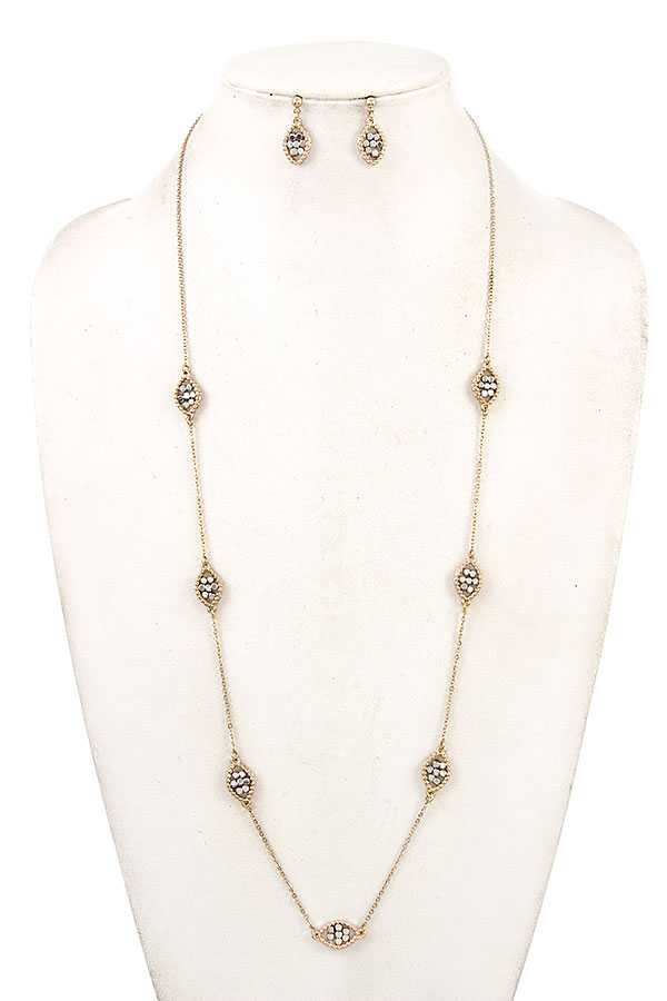 MARQUISE BEAD STATION LONG NECKLACE SET